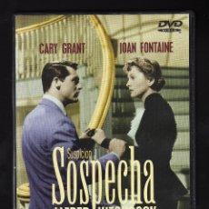 Cine: DVD: SOSPECHA - INT: CARY GRANT / JOAN FONTAINE / SIR CEDRIC HARDWICKE - (DIR: ALFRED HITCHCOCK). Lote 179184660