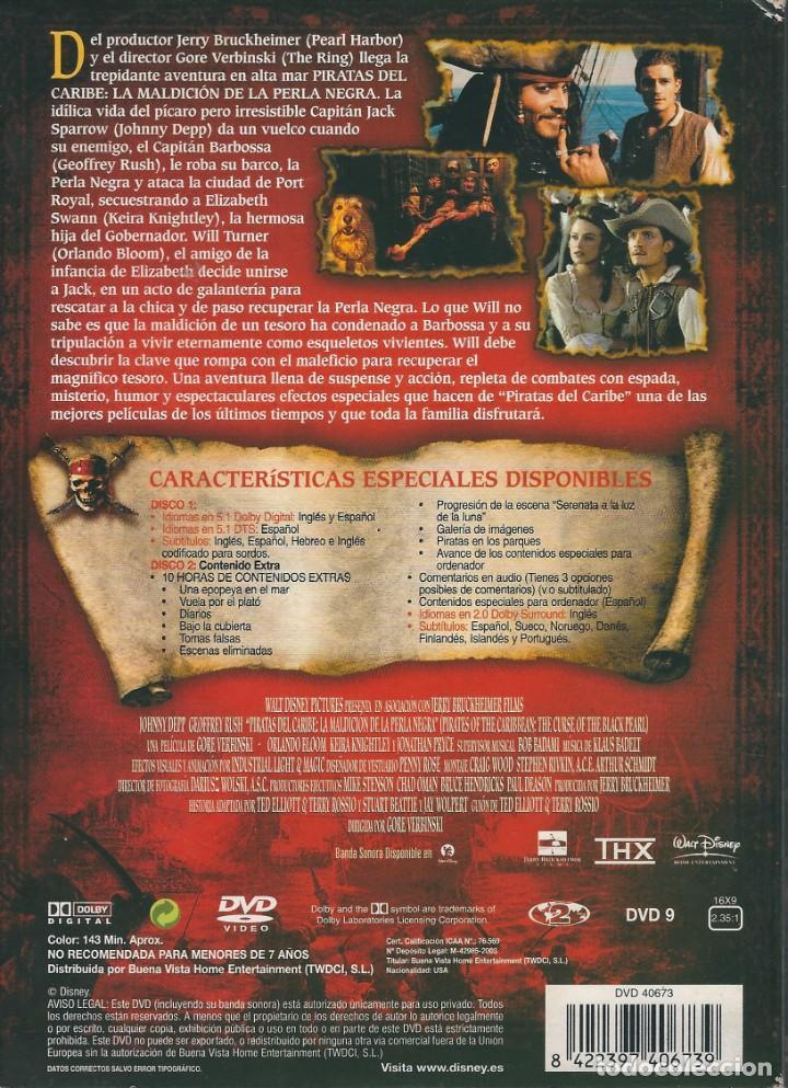 Cine: DVD PIRATAS DEL CARIBE. LA MALDICIÓN DE LA PERLA NEGRA. EDICIÓN ESPECIAL DE COLECCIONISTA. 2 DISCOS - Foto 2 - 184206281