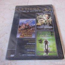 Cine: CINE DE ACCION III DVD - COMANDO PATOS SALVAJES, LA GRAN RUTA HACIA CHINA Y LA PRESA - PRECINTADO. Lote 194747586