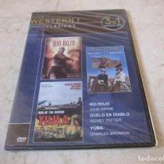 Cine: CICLO WESTERN I DVD - RIO ROJO, DUELO EN DIABLO Y YUMA - PRECINTADO. Lote 194747662
