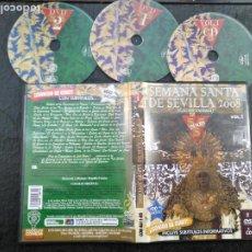 Cine: 2 DVD + CD SEMANA SANTA SEVILLA - ESPERANZA TRIANA CRISTO TRES CAIDAS , AMOR, EL ROCIO , LAS AGUAS . Lote 195123146