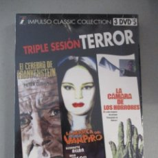 Cine: DVD - TRIPLE SESION TERROR / EL CEREBRO DE FRANKENSTEIN / LA MARCA DEL VAMPIR - PEDIDO MINIMO DE 10€. Lote 203056605