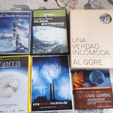 Cine: LOTE. 6 DVDS.EL DIA DE MAÑANA.TIERRA.CLIMA EXTREMO.UNA VERDAD INCOMODA. AL GORE Y LIBRO.. Lote 203421548