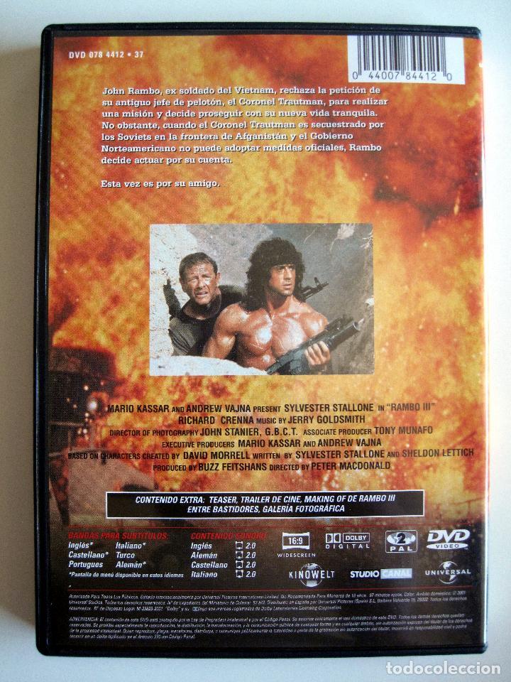 Cine: RAMBO 3 • DVD (Sylvester Stallone) • Como nuevo - Foto 2 - 207614753