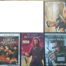 Cine: ENVIO INCLUIDO // LOTE DVD: GLADIATOR, ROBIN HOOD, BRAVEHEART, EL REY ARTURO. Lote 207622973