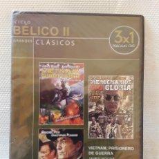 Cine: DVD CINE BÉLICO 3 X 1: MICHAEL CAINE / GREGORY PECK / JAMES WOODS ETC. PRECINTADO. Lote 209819107