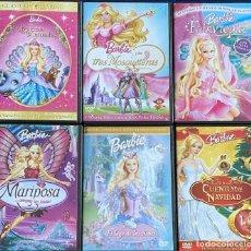 Cine: 6 DVDS BARBIE CUENTO NAVIDAD LAGO CISNES TRES MOSQUETERAS MARIPOSA LA PRINCESA ANIMALES FAIRYTOPIA. Lote 218992033