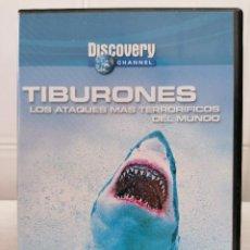 Cine: TIBURONES - LOS ATAQUES MAS TERRORIFICOS DEL MUNDO - DVD -DISCOVERY CHANNEL - AÑO 2002. Lote 232371205