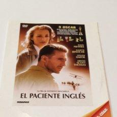 Cinema: EL PACIENTE INGLÉS. FUNDA DE CARTÓN.. Lote 236787625