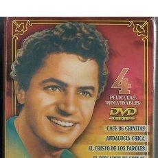 Cine: ANTONIO MOLINA 4 DVDS CAFÉ DE CHINITAS + ANDALUCIA CHICA + EL CRISTO DE LOS FAROLES + EL PESCADOR DE. Lote 243755135