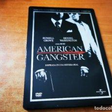 Cine: AMERICAN GANSTER EDICION EXTENDIDA 2 DVD DEL AÑO 2008 ESPAÑA CAJA METALICA DENZEL WASHINGTON. Lote 245465085