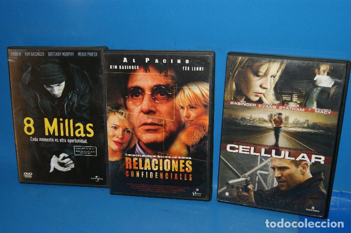 LOTE 3 DVDS ESPECIAL KIM BASINGER-CELLULAR-8 MILLAS-RELACIONES SENTIMENTALES (Cine - Películas - DVD)