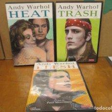 Cine: ANDY WARHOL - TRES DVDS - HEAT - TRASH Y FLESH - EDICION REMASTERIZADA - MANGA FILMS. Lote 275113078