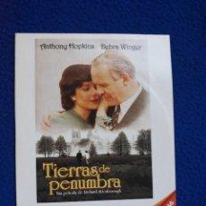 Cine: TIERRAS DE PENUMBRA - ANTHONY HOPKINS / DEBRA WINGER. Lote 278965528