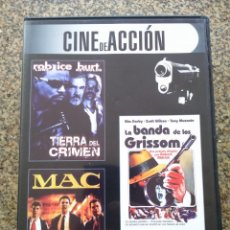 Cine: DVD -- TIERRA DEL CRIMEN / MAC / LA BANDA DE LOS GRISSOM -- CAJA FINA --. Lote 278967033
