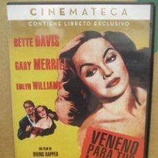 Cine: VENENO PARA TUS LABIOS - BETTE DAVIS - GARY MERRILL - CON LIBRETO - DVD. Lote 279376833