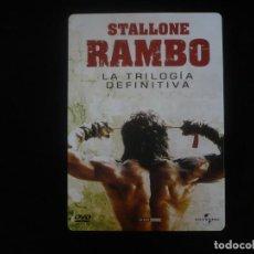Cine: RAMBO LA TRILOGIA DEFINITIVA EN CAJA METALICACA - DVD COMO NUEVOS. Lote 279414613