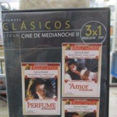 Cine: EMMANUELLE - SYLVIA KRISTEL - TRES PELICULAS - AMOR - PERFUME - ETERNAMENTE - DVD. Lote 289570393