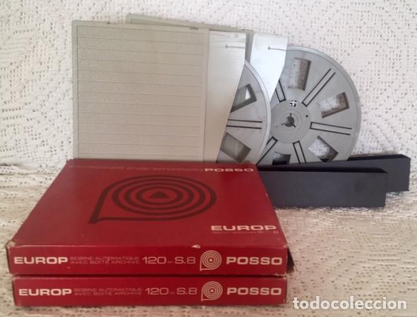 2 BOBINAS VACIAS DE 120 M. PARA SUPER 8 MM. MARCA 'POSSO' EN SUS CAJAS. SIN ESTRENAR. (Cine - Películas - Super 8 mm)