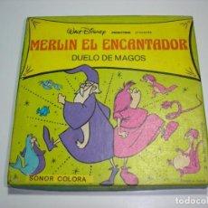 Cine: PELICULA SUPER 8 MM SONORA: MERLIN EL ENCANTADOR: DUELO DE MAGOS - WALT DISNEY PRODUCTIONS. Lote 147055398