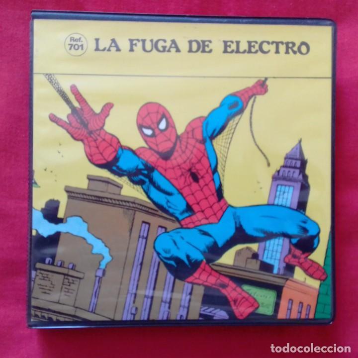 LA FUGA DE ELECTRO SPIDERMAN EL HOMBRE ARAÑA PELICULA SUPER 8 COLOR SONORO ESPAÑOL REF 701 ARGENFOT (Cine - Películas - Super 8 mm)