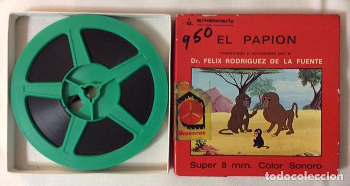 Cine: PELÍCULA CORTOMETRAJE SÚPER 8MM, EL PAPION, FÉLIX RODRÍGUEZ DE LA FUENTE - Foto 2 - 179221320