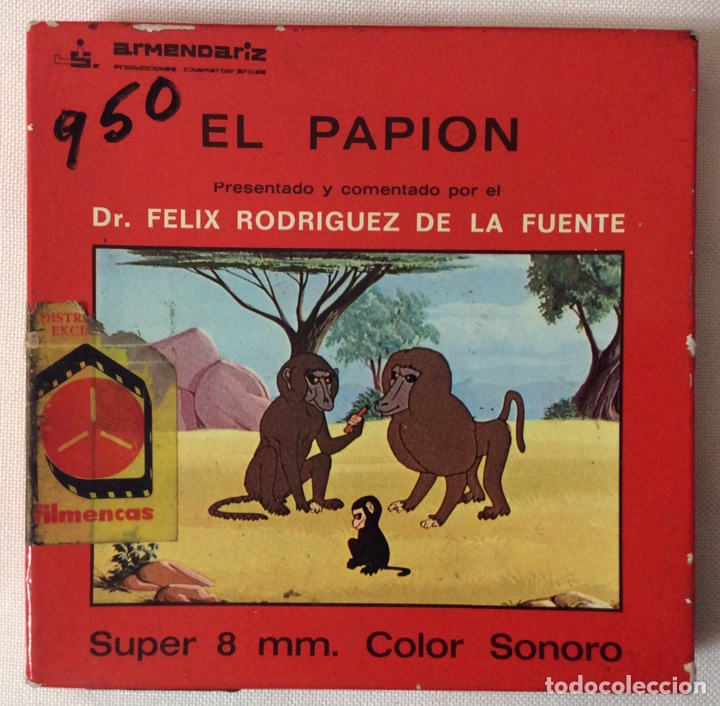 PELÍCULA CORTOMETRAJE SÚPER 8MM, EL PAPION, FÉLIX RODRÍGUEZ DE LA FUENTE (Cine - Películas - Super 8 mm)
