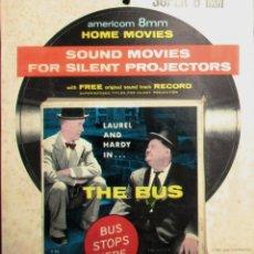 Cine: PELÍCULA THE BUS, DE LAUREL Y HARDY CON DISCO FLEXIBLE A 33 RPM CON LA BANDA SONORA. 1966.. Lote 247221455