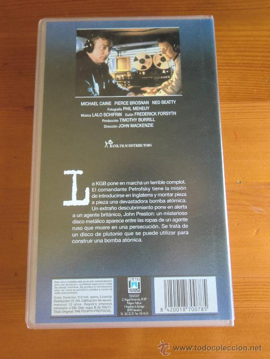 Cine: VHS EL CUARTO PROTOCOLO (1987) de John MacKenzie. Con Michael Caine y Pierce Brosnan. ¡Nueva! - Foto 2 - 28511299