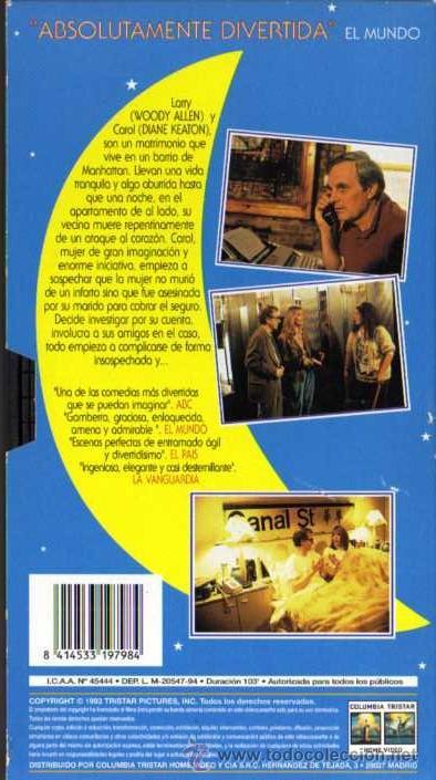 Cine: VHS ORIGINAL - MISTERIOSO ASESINATO EN MANHATTAN - WOODY ALLEN / DIANE KEATON / ALAN ALDA - Foto 2 - 29116443