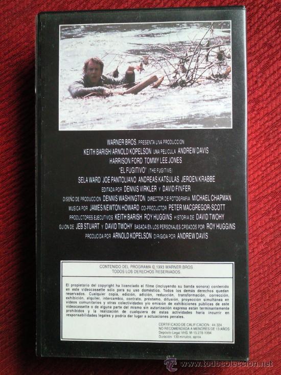 Cine: EL FUGITIVO. VHS. Harrison Ford - Foto 2 - 29372143