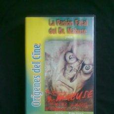 Cine: LA PASIÓN FATAL DEL DR.MABUSE (1922) FRITZ LANG.ORÍGENES DEL CINE. UN SOLO VISIONADO. VHS COMO NUEVO. Lote 29681307