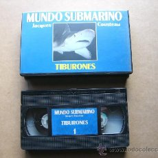 Cine: PELICULA DOCUMENTAL VHS MUNDO SUBMARINO Nº 1 TIBURONES JACQUES COUSTEAU. Lote 30672721