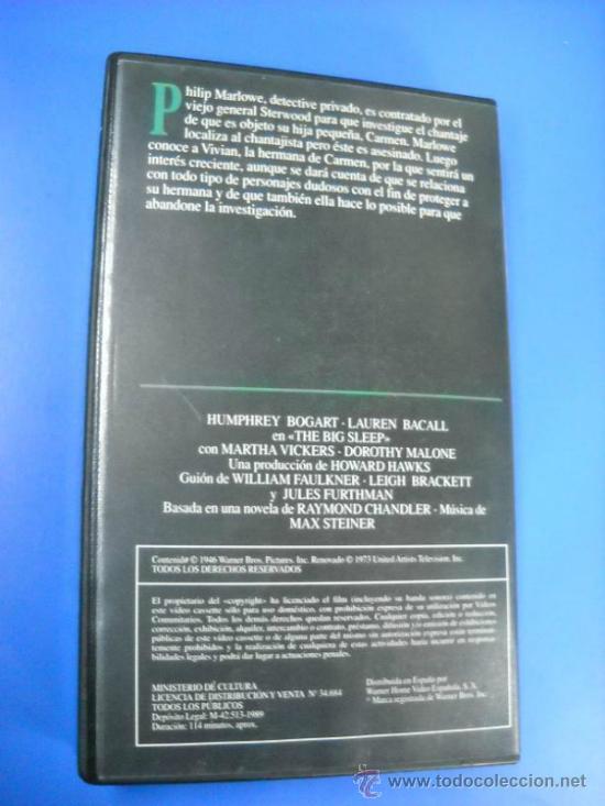 Cine: VHS - EL SUEÑO ETERNO - HUMPHREY BOGART - LAUREN BACALL - Foto 2 - 31167314
