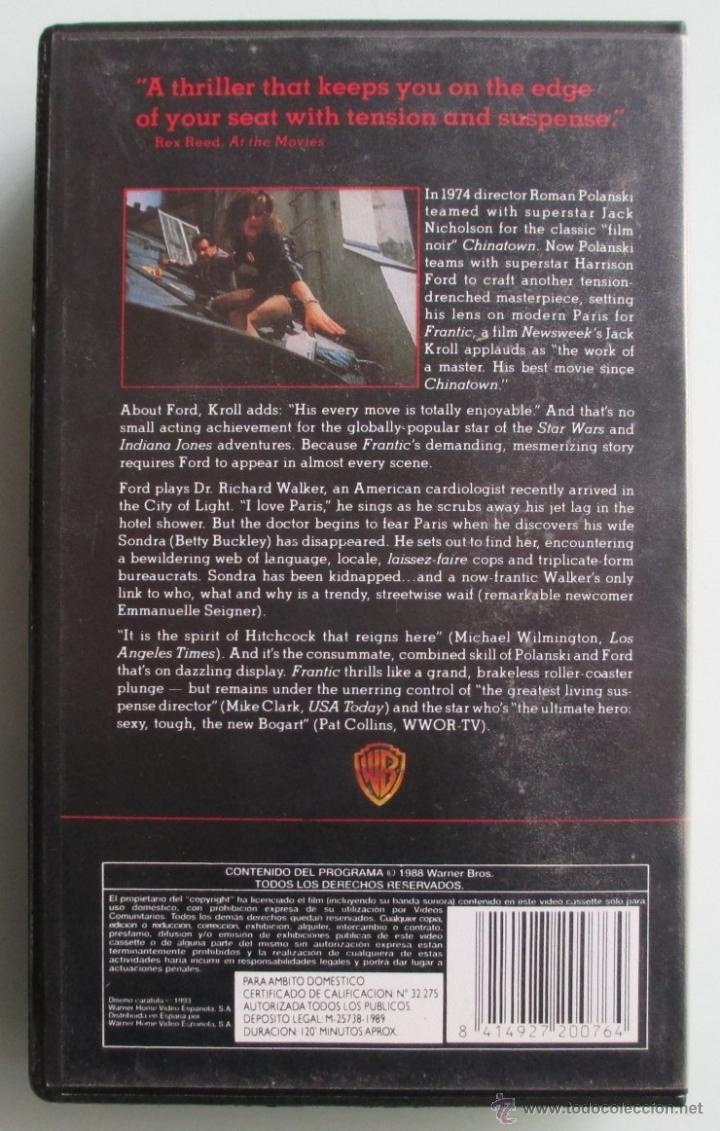Cine: FRANTIC - ROMAN POLANSKI - HARRISON FORD - VHS - 1989 - Foto 2 - 41500626