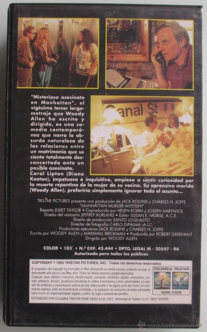 Cine: MISTERIOSO ASESINATO EN MANHATTAN - WOODY ALLEN - 1994 - VHS - Foto 2 - 41501549