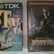 Cine: TERMINATOR 2 EL JUICIO FINAL Y CINTA TDK 240 MINUTOS REGRABABLE VHS. Lote 41516504