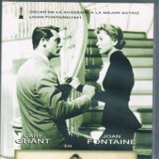Cine: VHS SOSPECHA ALFRED HITCHCOCK GARY GRANT JOAN FONTAINE. Lote 43014008