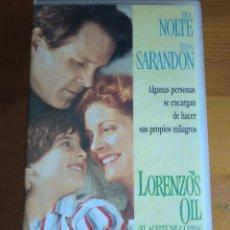Cine: VHS EL ACEITE DE LA VIDA (LORENZO´S OIL) (1.992) DE GEORGE MILLER. CON NICK NOLTE Y SUSAN SARANDON. Lote 82985500