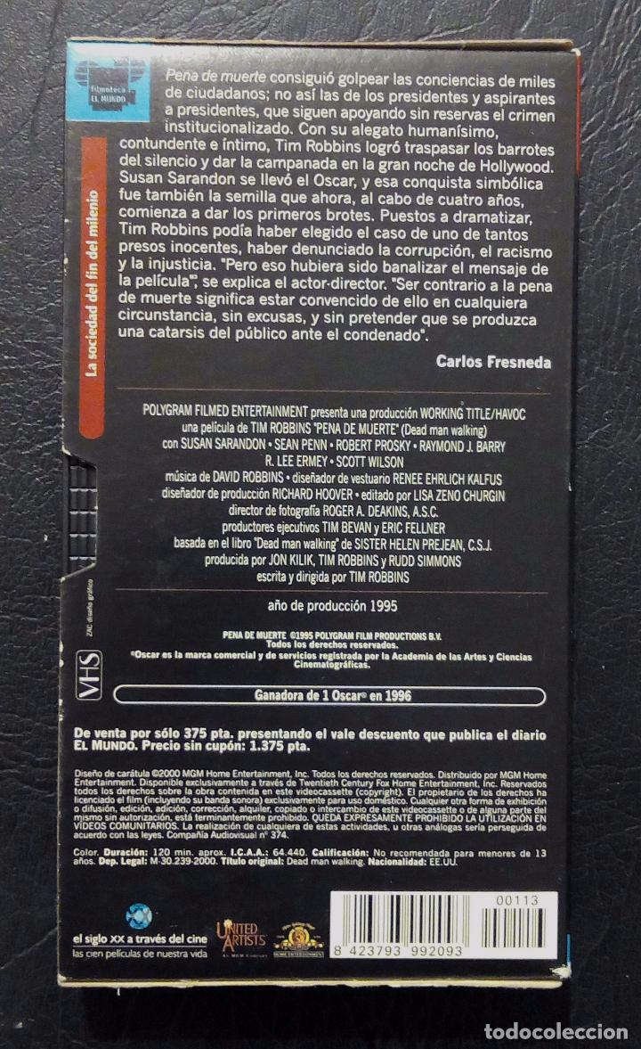 Cine: VHS PENA DE MUERTE - SUSAN SARANDON - SEAN PENN - TIM ROBBINS - EL MUNDO Nº 113. - Foto 2 - 69959569