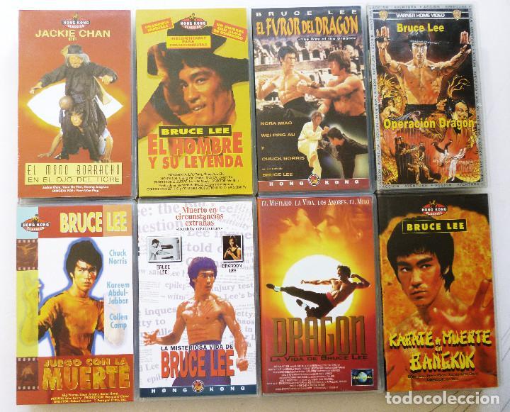 8 PELICULAS VHS ARTES MARCIALES 7 PELICULAS BRUCE LEE Y UNA PELICULA JACKIE CHAN (Cine - Películas - VHS)