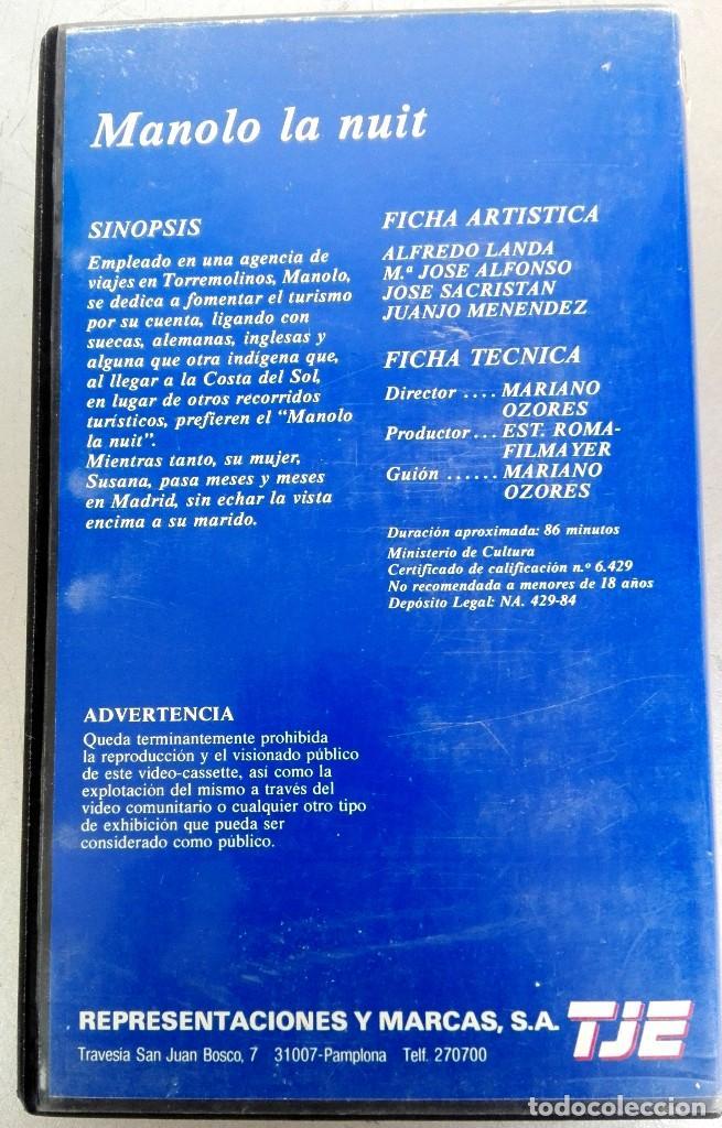 Cine: VHS - MANOLO LA NUIT - Alfredo Landa, Nadiuska, Antonio Ozores, Mariano Ozores - Foto 3 - 88001408