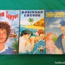 Cine: DAVID COPERFIELD TOM SAWYER ROBINSON CRUSOE VHS TRIPLE PACK DIBUJOS ANIMADOS DE CUENTOS CLÁSICOS. Lote 101535510