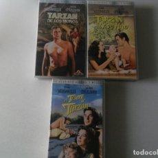Cine: TARZAN JOHNNY WEISSMULLER LOTE DE 3 PELICULAS VHS. Lote 104281299
