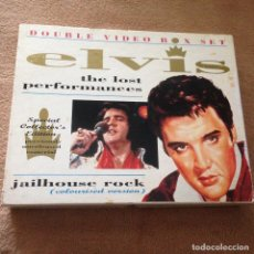 Cine: DOUBLE VIDEO BOX IN VHS ELVIS PRESLEY THE LOS PERFORMANCE JAILHOUSE ROCK 1990 KREATEN. Lote 106960059