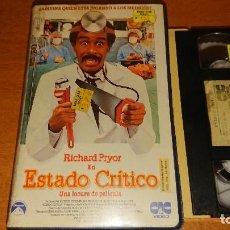 Cine: VHS -ESTADO CRITICO (1987) - MICHAEL APTED RICHARD PRYOR RACHEL TICOTIN RUBÉN BLADES VHS 1ª EDICIÓN. Lote 113037011