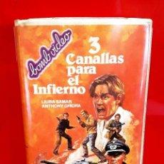 Cine: 3 CANALLAS PARA EL INFIERNO (1981) - LIUBA SAMAR, ANTHONY GHIDRA. ESPAÑOLA DE VIDEO (EV). Lote 116267239