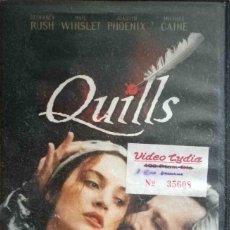 Cine: TODOVHS: QUILLS (GEOFFREY RUSH, KATE WINSLET, JOAQUIN PHOENIX, MICHAEL CAINE) CAJA GRANDE. Lote 127163319