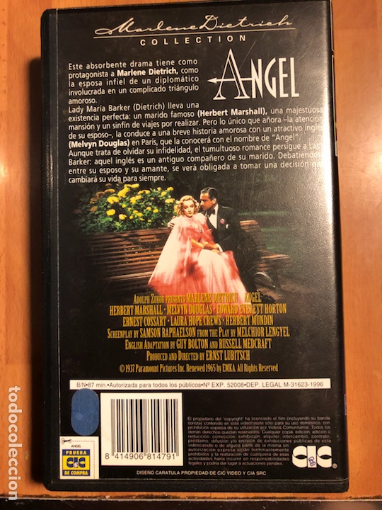Cine: Película vhs Marlene Dietrich ángel - Foto 2 - 129666122