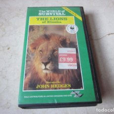 Cine: THE LIONS OF ETOSHA VHS - THE WORLD OF SURVIVAL 1986. Lote 134139982